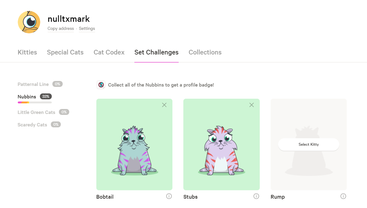 nubbins set challenge cryptokitties