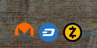 monero zcash dash logos